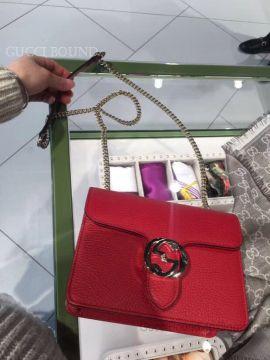 Gucci Women Leather Interlocking GG Crossbody Purse Handbag Red 510304