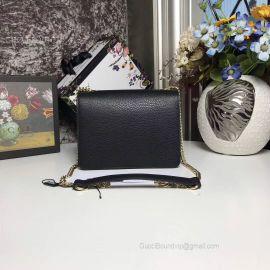 Gucci Women Leather Interlocking GG Crossbody Purse Handbag Black 510304
