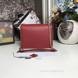 Gucci Women Leather Interlocking GG Crossbody Purse Handbag Dark Red 510304