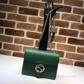 Gucci Women Leather Interlocking GG Crossbody Purse Handbag Green 510304