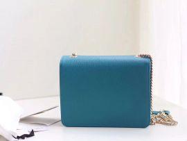 Gucci Women Leather Interlocking GG Crossbody Purse Blue Handbag 510304