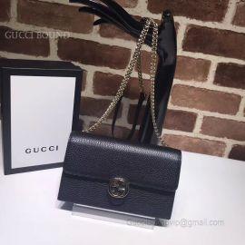 Gucci Women Leather Interlocking GG Crossbody Chain Wallet Black 510314