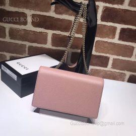Gucci Women Leather Interlocking GG Crossbody Chain Wallet Pink 510314