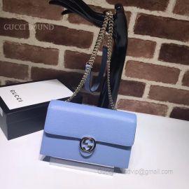 Gucci Women Leather Interlocking GG Crossbody Chain Wallet Light Blue 510314