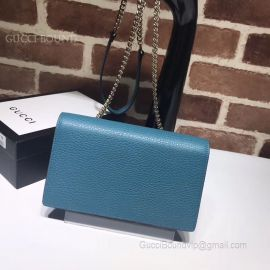 Gucci Women Leather Interlocking GG Crossbody Chain Wallet Blue 510314