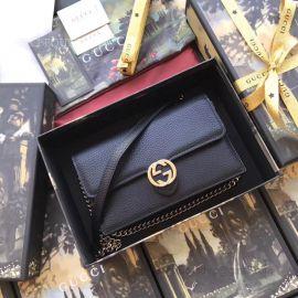Gucci Women Leather Interlocking GG Crossbody Chain Black Wallet 510314