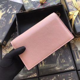 Gucci Women Leather Interlocking GG Crossbody Chain Pink Wallet 510314