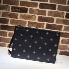 Gucci Bee Star Leather Messenger Black 450976