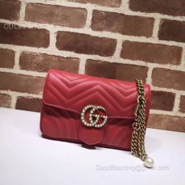 Gucci GG Marmont Chain Belt Bag With Pearls Red 476809