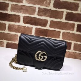 Gucci GG Marmont Chain Belt Bag With Pearls Black 476809
