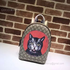 Gucci GG Supreme Cat Print Backpack Red 495621