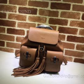 Gucci Bamboo Leather Backpack Brown 370833