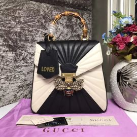 Gucci Queen Margaret Quilted Leather Backpack Black And White 476664