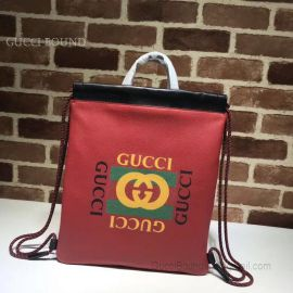 Gucci Gucci Print Small Drawstring Backpack Red 523586