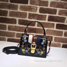 Gucci Sylvie Embroidered Mini Bag Black 470270