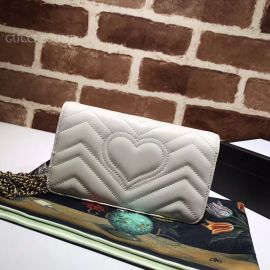 Gucci GG Marmont Matelasse Leather Bee Butterfly Mini Bag White 488426