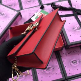 Gucci Sylvie Web Original Leather Chains Mini Bag Red 494642