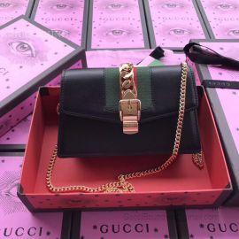 Gucci Sylvie Web Original Leather Chains Mini Bag Black 494642