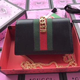 Gucci Sylvie Web Original Leather Chains Mini Bag Black 494642