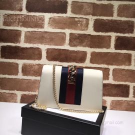 Gucci Sylvie Leather Mini Chain Bag White 494646