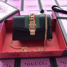 Gucci Sylvie Leather Mini Chain Bag Black 494646