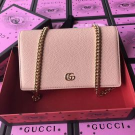 Gucci GG Marmont Leather Mini Chain Bag Pink 497985