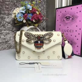 Gucci Broadway Leather Clutch White 453778