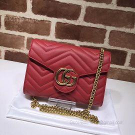 Gucci GG Marmont Matelasse Mini Bag Red 474575
