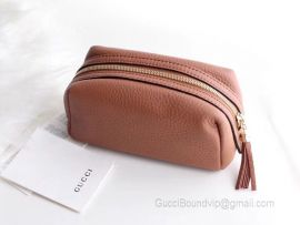 Gucci Real Leather Soho Tassel GG Cosmetic Makeup Bag Clutch Nude 308636