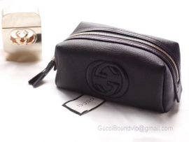 Gucci Real Leather Soho Tassel GG Cosmetic Makeup Bag Clutch Black 308636