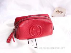 Gucci Real Leather Soho Tassel GG Cosmetic Makeup Bag Red Clutch 308636