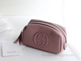 Gucci Real Leather Soho Tassel GG Cosmetic Makeup Bag Pink Clutch 308636