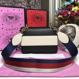 Gucci Queen Margaret Leather Handbag Black And White 476542