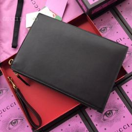 Gucci Leather Pouch Embellised Bee Handbag Black 429000