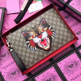 Gucci Print GG Supreme Pouch Tiger Head 473904