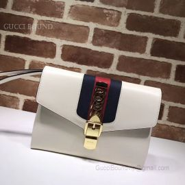Gucci Sylvie Leather Pouch White 477627