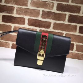 Gucci Sylvie Leather Pouch Black 477627