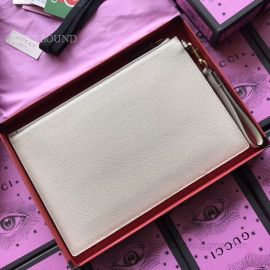 Gucci Print Leather Pouch White 495011