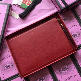 Gucci Print Leather Pouch Red 495011