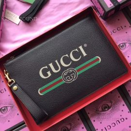 Gucci Print Leather Pouch Black 495011
