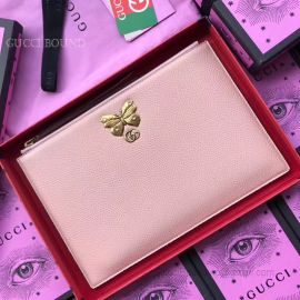 Gucci Butterfly Original Leather Clutch Pink 499360