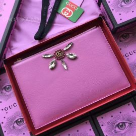 Gucci Leather Pouch With Double G And Crystals Pink 499799