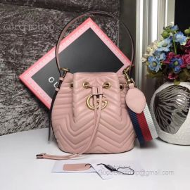 Gucci GG Marmont Quilted Leather Bucket Bag Pink 476674