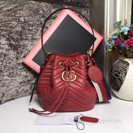 Gucci GG Marmont Quilted Leather Bucket Bag Red 476674