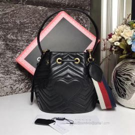 Gucci GG Marmont Quilted Leather Bucket Bag Black 476674