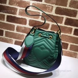 Gucci GG Marmont Quilted Leather Bucket Bag Green 476674