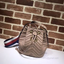 Gucci GG Marmont Quilted Leather Bucket Bag Coffee 476674