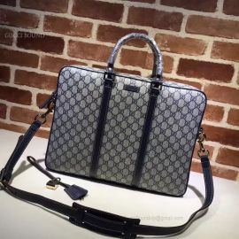 Gucci Men Sima Leather Business Bag Gray 201480