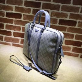 Gucci Men Sima Leather Business Bag Light Gray 201480