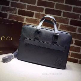 Gucci Leather Briefcase Bag Pewter 322057